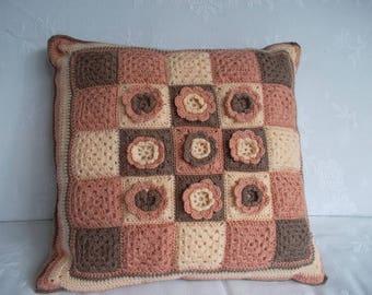 """Chocolate"" 45 X 45 cm crochet cushion, flower granny squares"