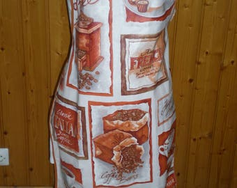 Coated cotton adult apron - ground coffee cappuccino