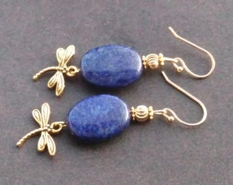 Earrings - lapis lazuli and Golden dragonflies pucks