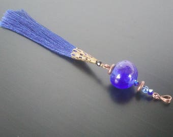 """Pendant """"Midnight Blue tassel - spun glass"""" for medium - long - comes with chain or cord necklace"""