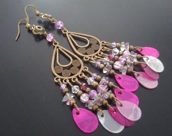 Earrings: Pearl - cracked glass - Swarovski Crystal