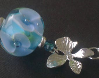 Pendant and earrings: designed in blue - Lampwork Glass Beads