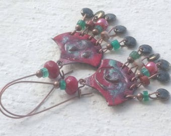 Copper earrings - red and blue and celadon Green