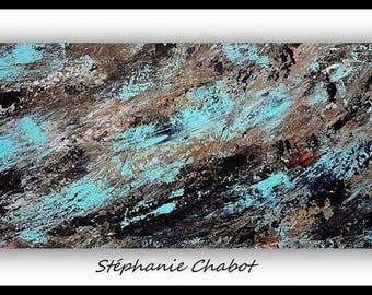 Modern abstract art painting blue brown black 10x20/ Art abstrait moderne bleu brun noir