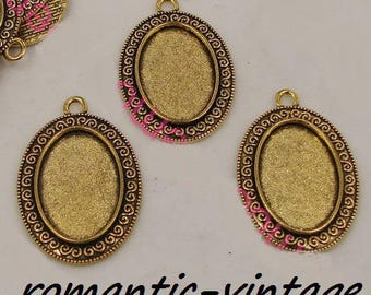 25 * 18mm;  2 beautiful support cabochon 25 * 18mm antique gold