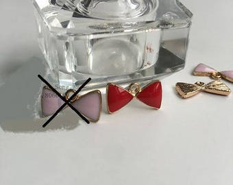 4 charms red enamel bows and metal color gold 16 * 8mm
