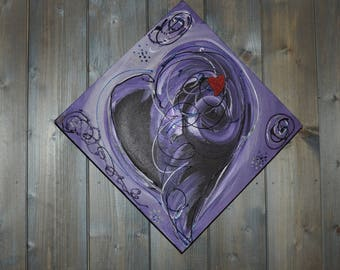 Heart abstract - painting-painting-acrylic purple tone