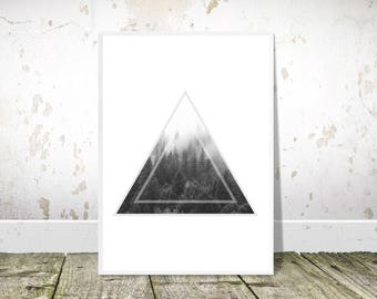 Black and White, Forest, PRINTABLE Art, Scandinavian,Trees Print,Triangle,Minimalist,Geometric Print,Scandinavian Poster,Home Decor,Wall Art
