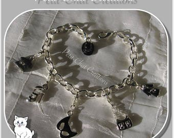 "BRACELET SILVER BLACK 16-21CM SNAP CHARMS BEADS ""INCOGNITO"" CHARMS"