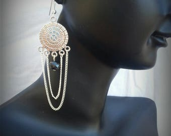 earrings, silver and black faceted bead