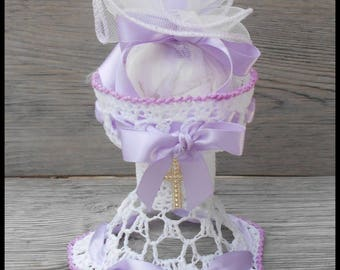 """10 candy dish in the shape """"Chalice"""" communion white and light purple and Purple Ribbon"""