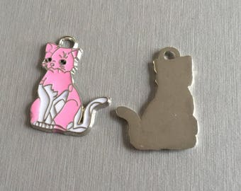 Cat: pink and white enamel