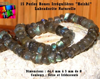 """15 pearls wheels """"Heishi"""" 4 mm to 5 mm to ∅ Labradorite natural Iridescent light gray"""
