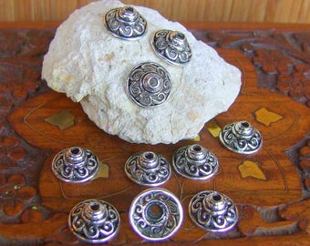 10 large cups ethnic Ouvragees Filigranees Metal obsolete money of 1.4 cm in diameter