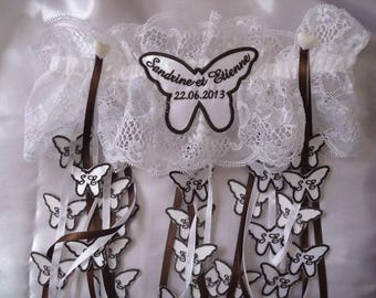 Calais lace garter for wedding custom personalized with 50 butterflies
