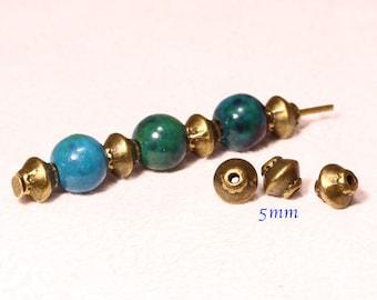 Insert mini saucer bronze flat round 5mm 20 beads