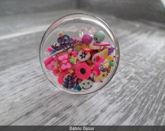 """NEW flat glass XXL 3 cm ring fills """"kawai"""" theme"""