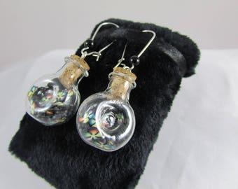"""Earrings """"Multicolored & black flowers in jar"""""""