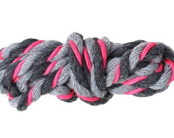 5mm - 1 m of twisted cotton rope grey, Antracite and pink