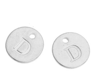 Letter D - 12mm Silver Pendant