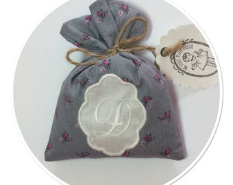 "LETTER ""D"" IN MEDALLION EMBROIDERY LAVENDER SACHET"