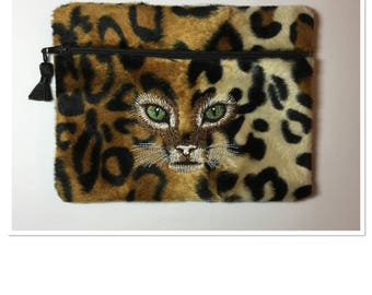 Leopard embroidered pouch