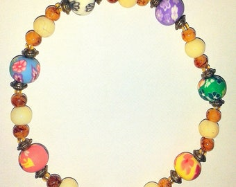 Japanese polymer clay (a bouquet of flowers) beaded bracelet