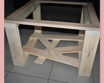 Low foot graphic recycled wood and glass top table
