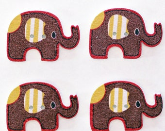 Elephant set of 10 wooden buttons: Brown - 02381