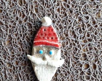 Decorative Christmas raku pottery - Santa Claus blue red white - (2)