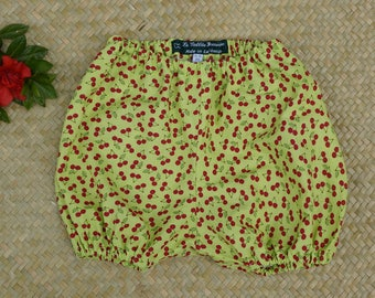 Pistachio green Bloomer with red cherries for baby 6 months