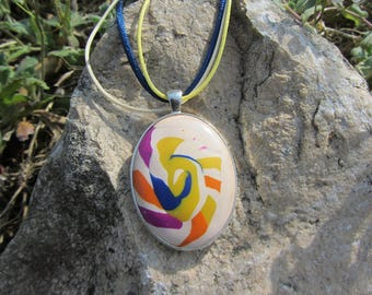 Oval cabochon pendant necklace polymer clay marbled white, off-white, yellow, blue, orange, purple cotton cord, satin cord