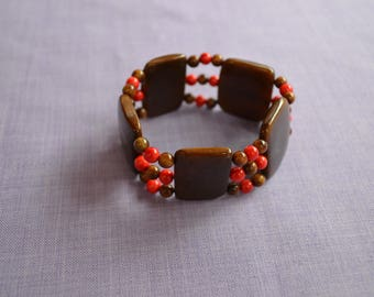 Vegetable ivory n two-tone Brown and Red elastic bracelet