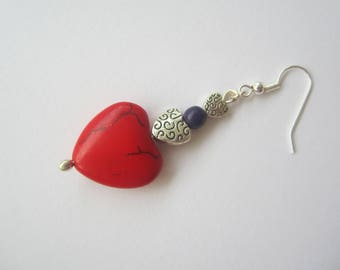 Toloman seeds and howlite heart earrings