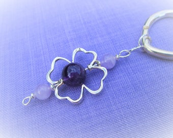 Handbag made of 925 sterling silver and Amethyst purple and lavender