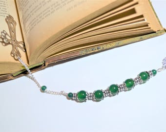 Bookmark made of stainless steel and silver plated and green agate beads / Cross and tree of life / stone of inner peace
