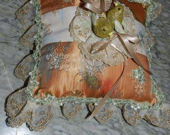 orange baroque wedding ring bearer pillow