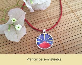 Flag meeting 974 necklace customize name - customizable • Cabochon