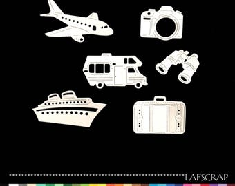 scrapbooking holiday cut-outs set ship plane camping as cut paper embellishment die cut creation
