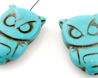 Natural stone beads Imitation Turquoise OWL 29x19mm ± 4