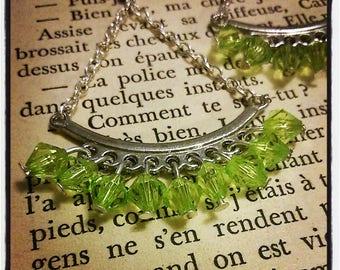 Silver Stud Earrings, green faceted beads pendants