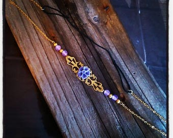 HeadBand jewelry head vintage gold filigree and purple beads