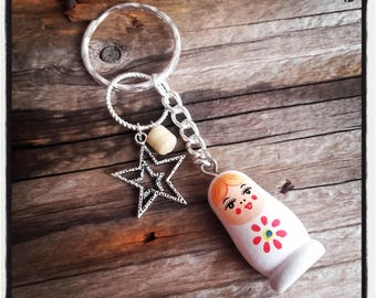 White Russian doll theme keychain