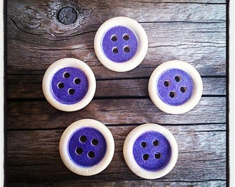 set of 5 wooden buttons, round shaped purple 15mm