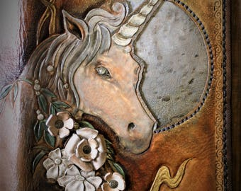 """Sketchbook journal with embossed leather reading Fantasy """"Lunar Unicorn"""""""