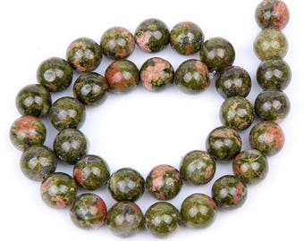 10 unakite 8mm natural green - bead unakite green pearls 8 mm unakite beads green round 8mm