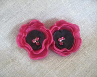 Flower 5 cm black and fuchsia satin with Rhinestones