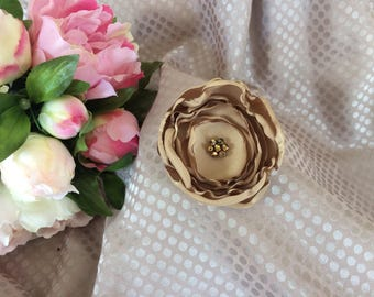 Flower 7 cm beige Satin with Rhinestone beads