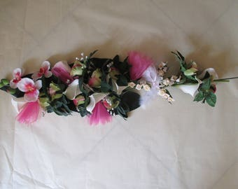 Pink and white wedding centrepiece