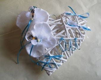 Wedding ring pillow, heart rattan, turquoise and white (Customize colors)